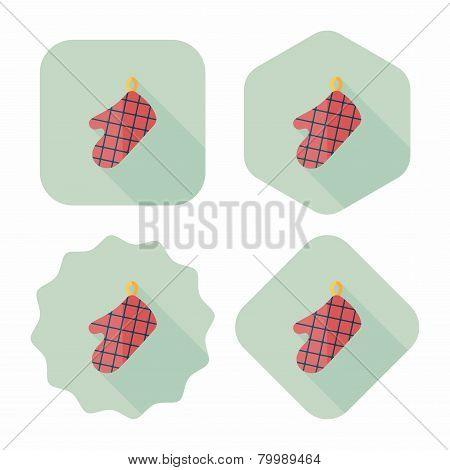 Kitchenware Oven Mitts Flat Icon With Long Shadow,eps10