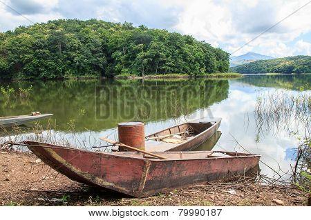 Old Fishing Boat On Lake Shore
