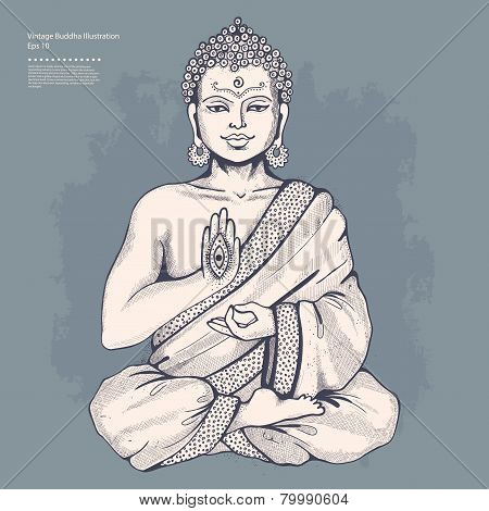 Vintage vector illustration with Buddha