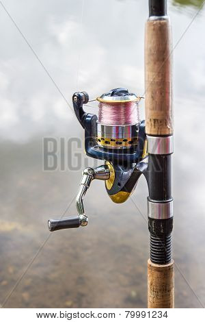 Close Up The Fishing Rod With Reel