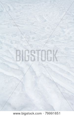 Ski Tracks And Footpaths In Snow