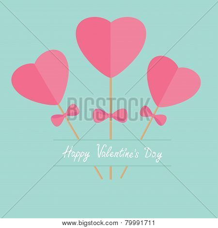 Three Sticks With Hearts And Bows Word Love. Flat Design Happy Valentines Day