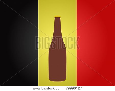 Belgian Flag With A Bottle Of Beer