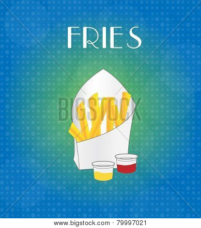 Food Menu Fries With Blue & Golden Background