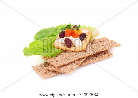 Crackers With Fresh Vegetables And Cream