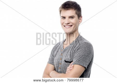 Cheerful Guy Posing In Casuals