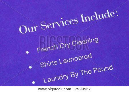 eine Liste der Dienstleistungen, die von der Waschsalon
