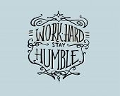 stock photo of humble  - Hand drawn vector illustration or drawing of a badge with the phrase - JPG