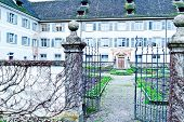 stock photo of zurich  - Monastery Fahr with the little garden close to Zurich Switzerland