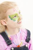 stock photo of face painting  - portrait of little girl with face painting - JPG