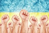 picture of labourer  - Ukraine Labour movement workers union strike concept with male fists raised in the air fighting for their rights Ukrainian national flag in out of focus background - JPG