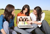 college students having fun outdoors poster