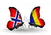 foto of chad  - Two butterflies with flags on wings as symbol of relations Norway and Chad Romania - JPG
