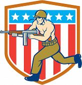 pic of sub-machine-gun  - Illustration of a World War two American soldier serviceman running with tommy thompson sub - JPG