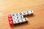 pic of plc  - PLC Product Life Cycle words on cubes on wooden background - JPG