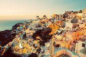 image of windmills  - Oia town on Santorini island - JPG