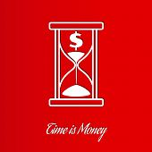 picture of sand dollar  - time is money wit sand glass on red background - JPG
