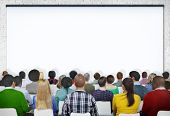 stock photo of gathering  - Seminar Conference Meeting People Learning Presentation Audience Concept - JPG