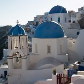 pic of blue-bell  - Blue domes and their bell tower in Oia - JPG
