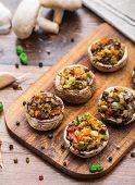 image of portobello mushroom  - Portobello mushrooms stuffed with tomato - JPG