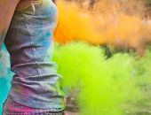 image of holi  - Happy young girl on holi color festival - JPG