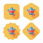 foto of juicer  - Kitchenware Juicer Flat Icon With Long Shadow - JPG