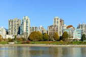 picture of high-rise  - Vancouver City skyline and high rise apartment at the north bank of False Creek - JPG