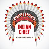 picture of indian chief  - Indian chief hat with plumage - JPG