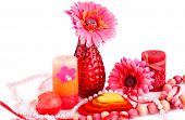 foto of vase flowers  - Daisy flower in the vase candles necklaces and colorful hearts on white background - JPG