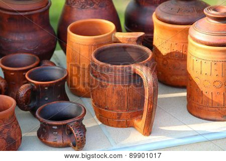 Ceramic Brown Mug Among Ceramic Ware