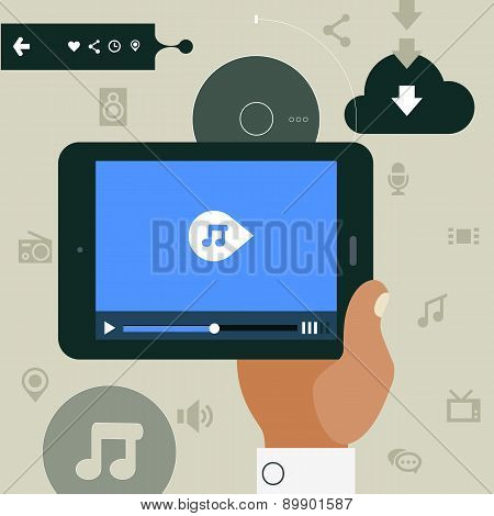 Modern Concept Of Hand Holding Mobile Device With Media Player App