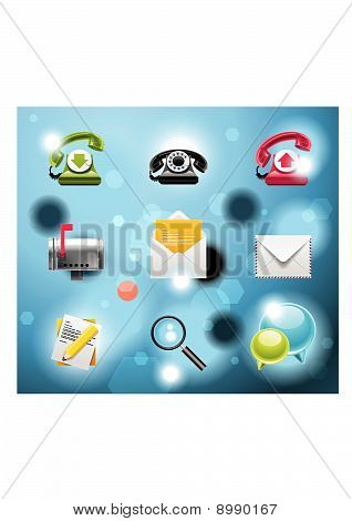 Typical mobile phone apps and services icons.