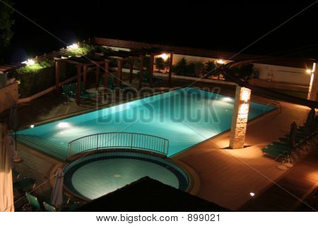 A Swimming Pool By Night