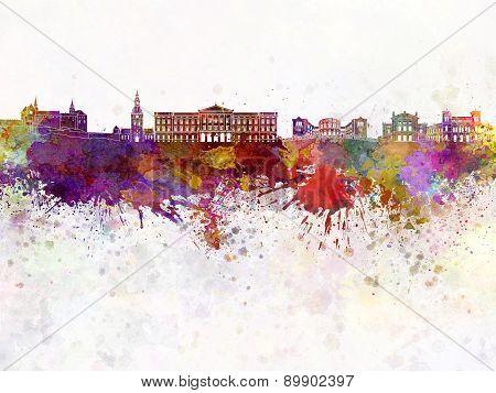 Oslo Skyline In Watercolor Background