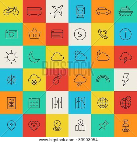 Travel, Tourism And Weather Icons, Set 1