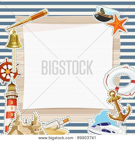 Vector Frame in marine style