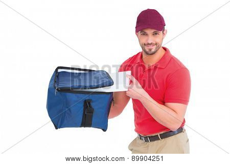 Pizza delivery man holding bag on white background
