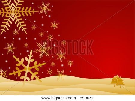 Red And Gold Winter Scene