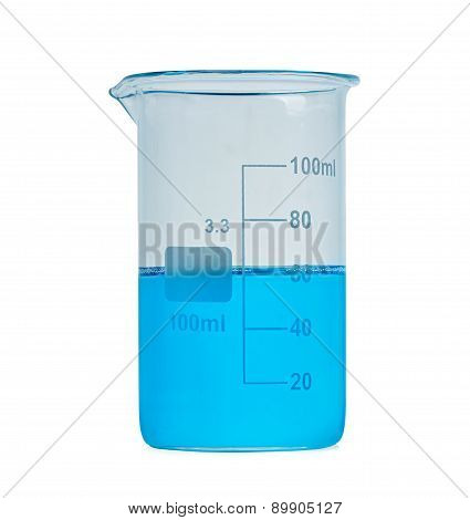Flask With Blue Liquid Isolated Over White Background