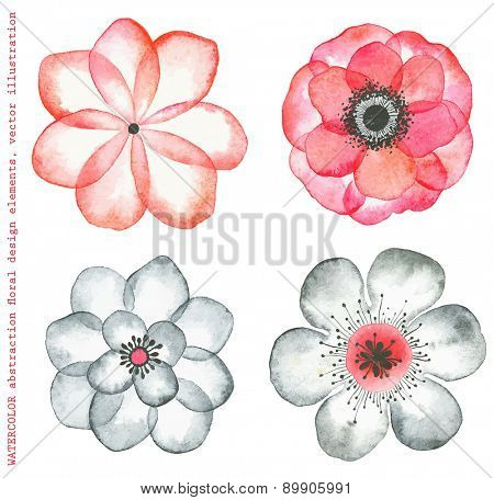 Collection watercolor flowers red and gray colors, abstract in vintage style.