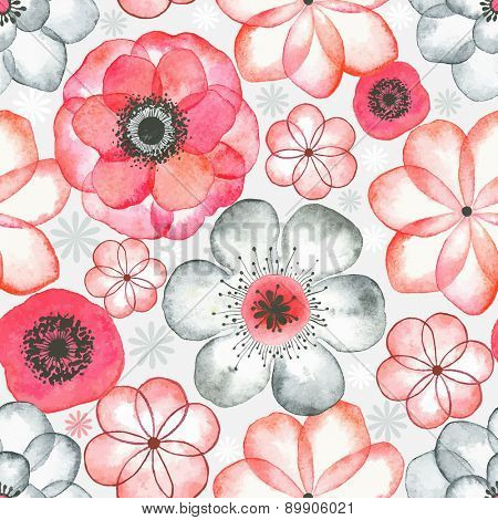 Seamless watercolor pattern with abstraction flowers red and gray colors, illustration in vintage style.