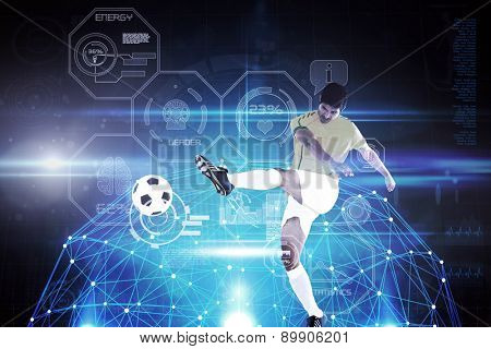 Football player against glowing sphere on black background