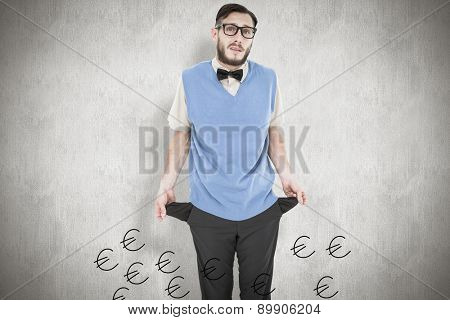 Geeky hipster showing empty pockets against white background