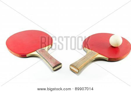 Table Tennis Rackets And A Ball Isolated