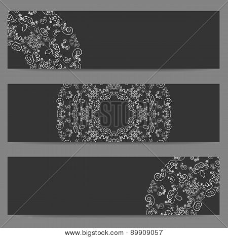 Black banners with ornate pattern