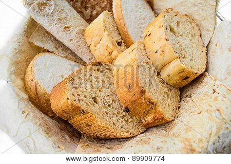 Assortment Of Bread In Basket, Horizontal, Close Up