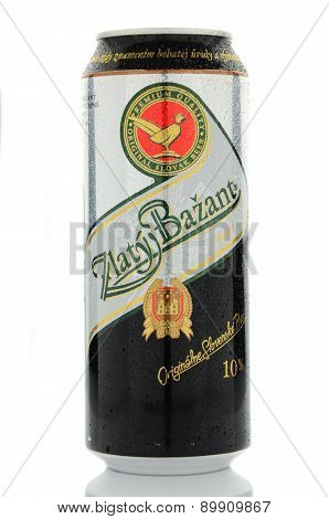 Zlaty Bazant dark beer isolated on white background