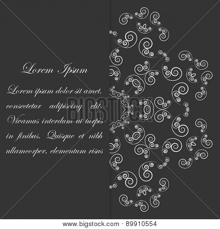 Black and white card design with ornate flower pattern