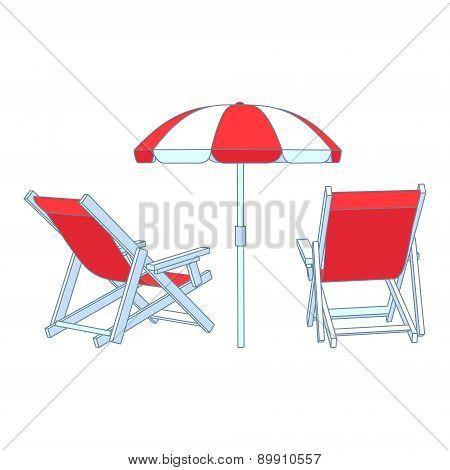 Vector red deck chairs under beach umbrella