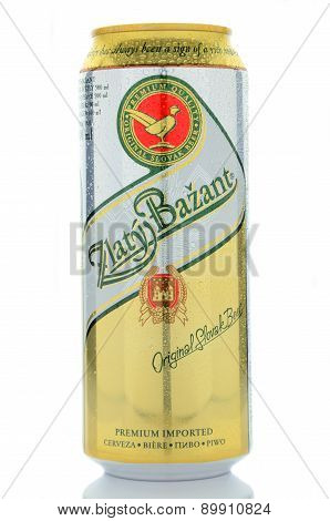 Zlaty Bazant beer isolated on white background
